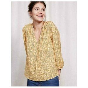Boden Yellow Polly Peasant Blouse 6P